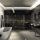 Fürdőszoba és városi fények